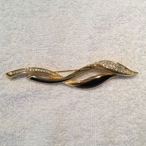 Dior Gold-tone Black Enamel & Crystal Brooch